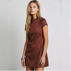 Free People On The Line Striped Turtleneck Dress